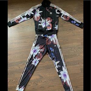 Adidas Flower Jacket/ Legging Set